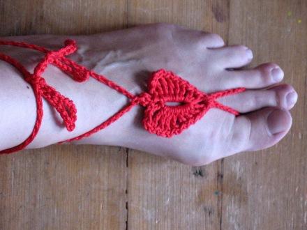 Fußsandalen, Herz, rot